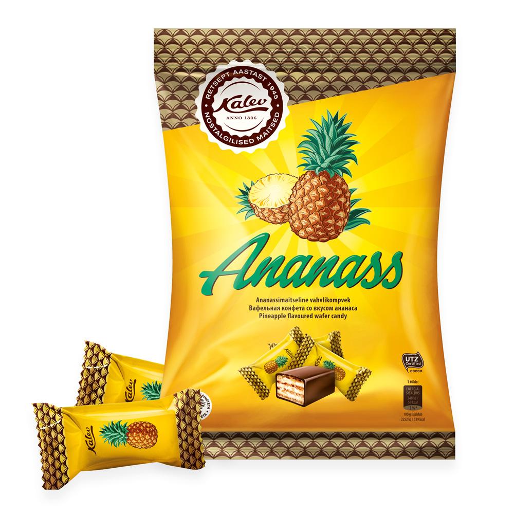 Kalev kommid. Ananass ananassimaitseline vahvlikompvek