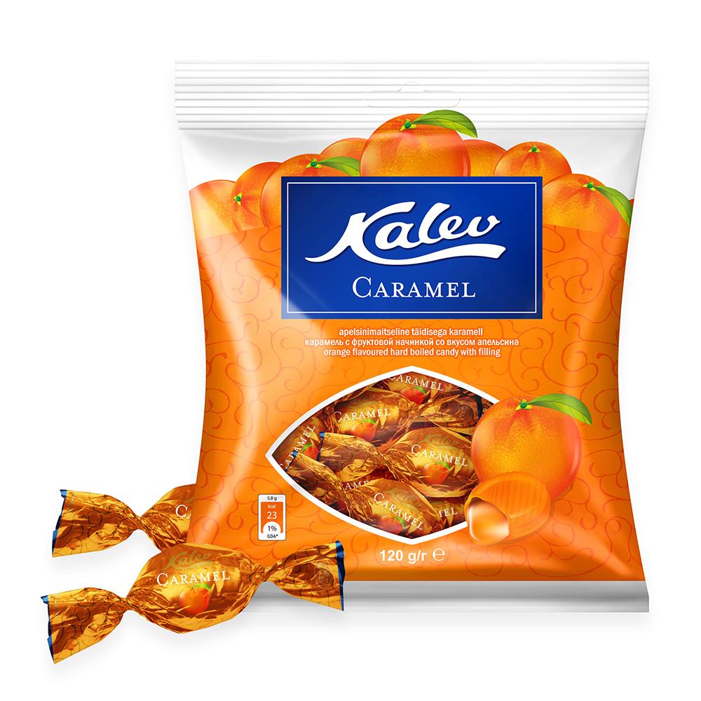 Kalevi kommid. Kalev Caramel apelsinimaitseline täidisega karamell