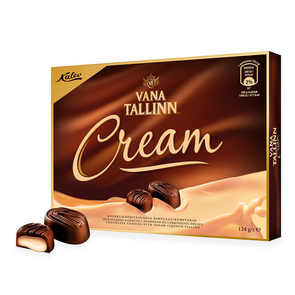 Kalev kommikarbid. Kalev Vana Tallinn Cream koorelikööritäidisega šokolaadikompvekid