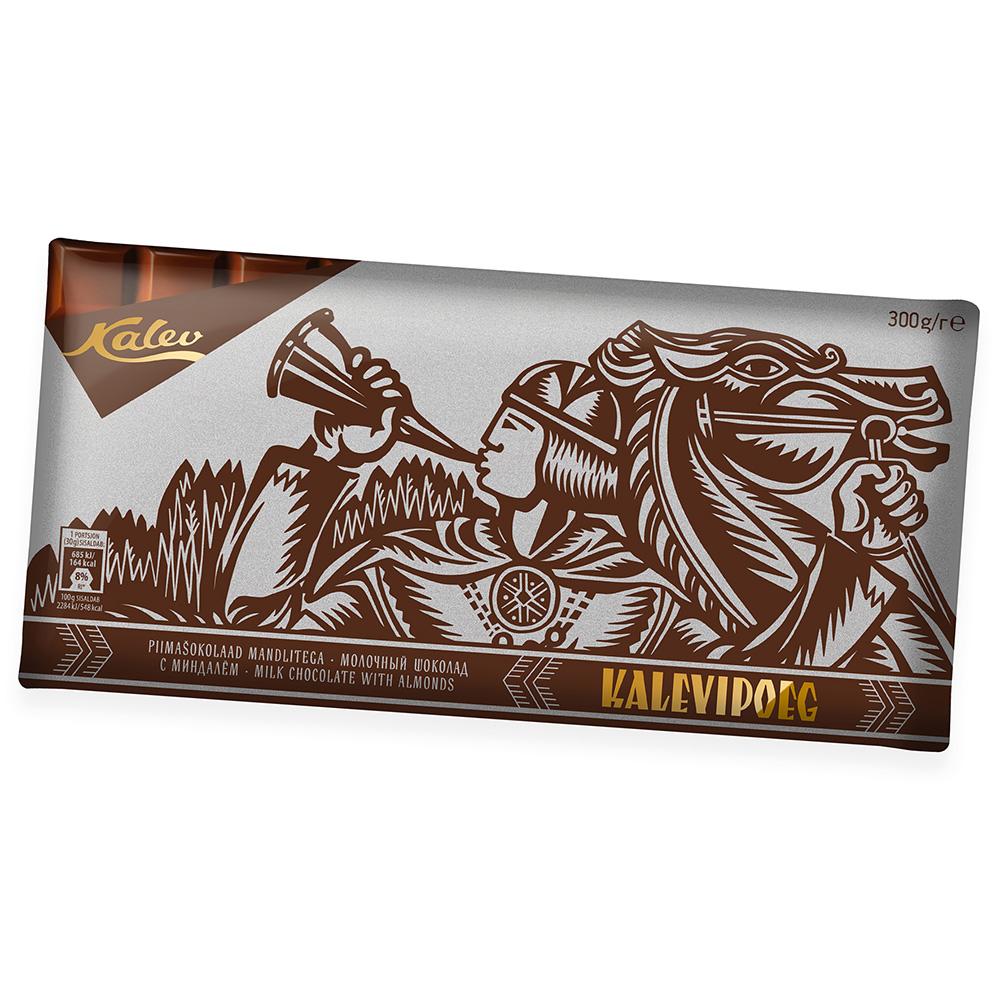 Kalev šokolaad. Kalevipoeg piimašokolaad mandlitega