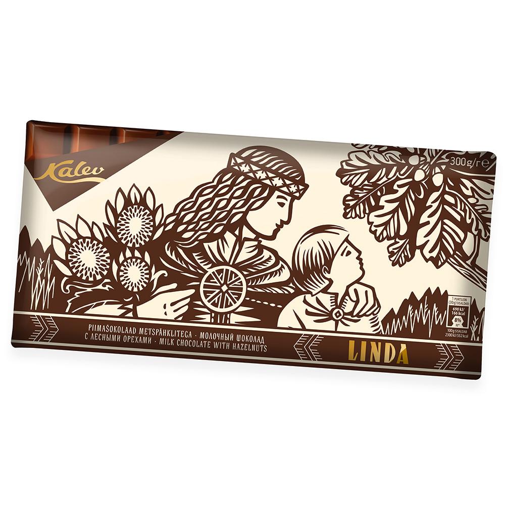 Kalev šokolaad. Linda piimašokolaad metspähklitega