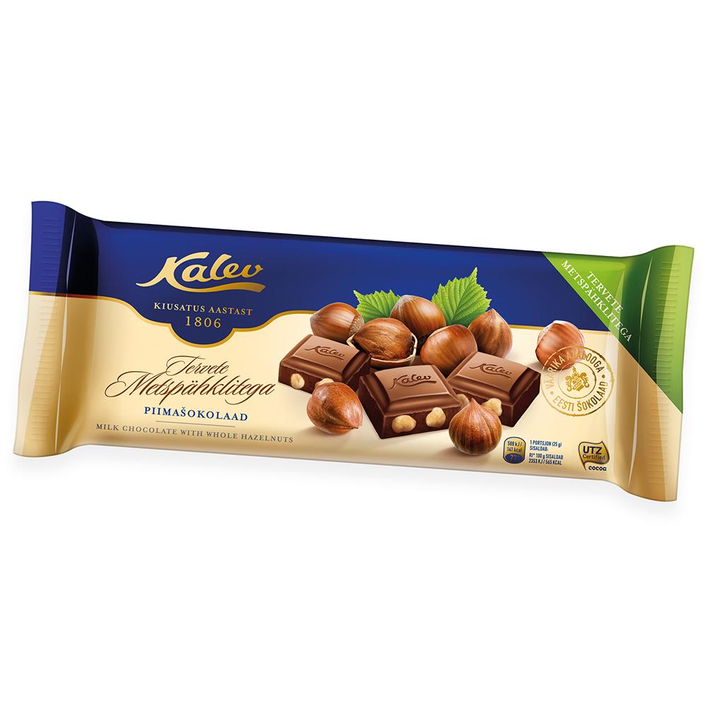 Šokolaad. Kalev piimašokolaad metspähklitega