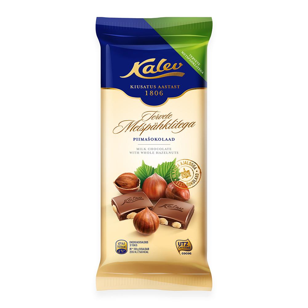Šokolaad. Kalev piimašokolaad tervete metspähklitega