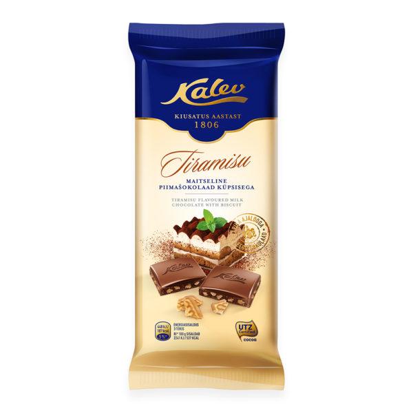 Šokolaad. Kalev tiramisumaitseline piimašokolaad küpsisega.