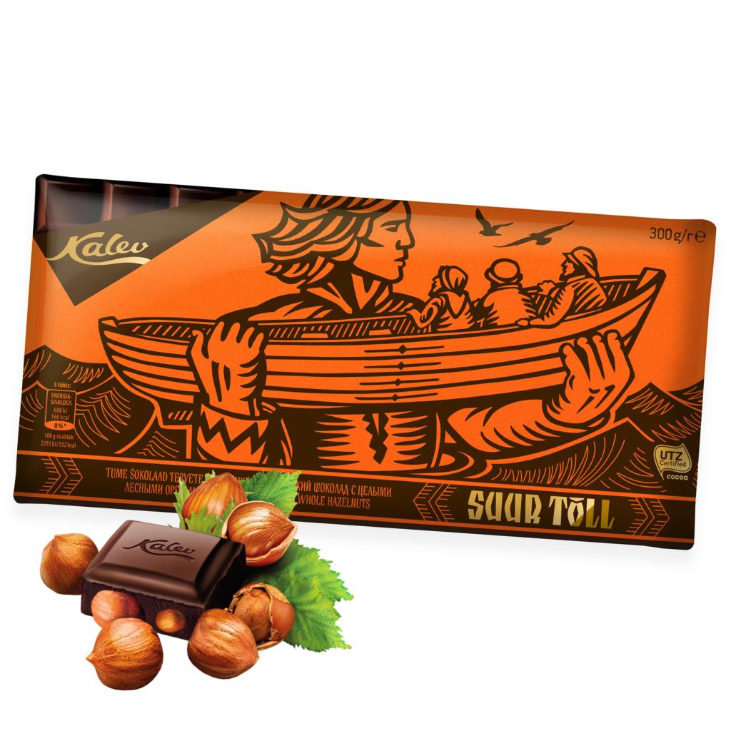 Suur Tõll tume šokolaad tervete metspähklitega. Kalev
