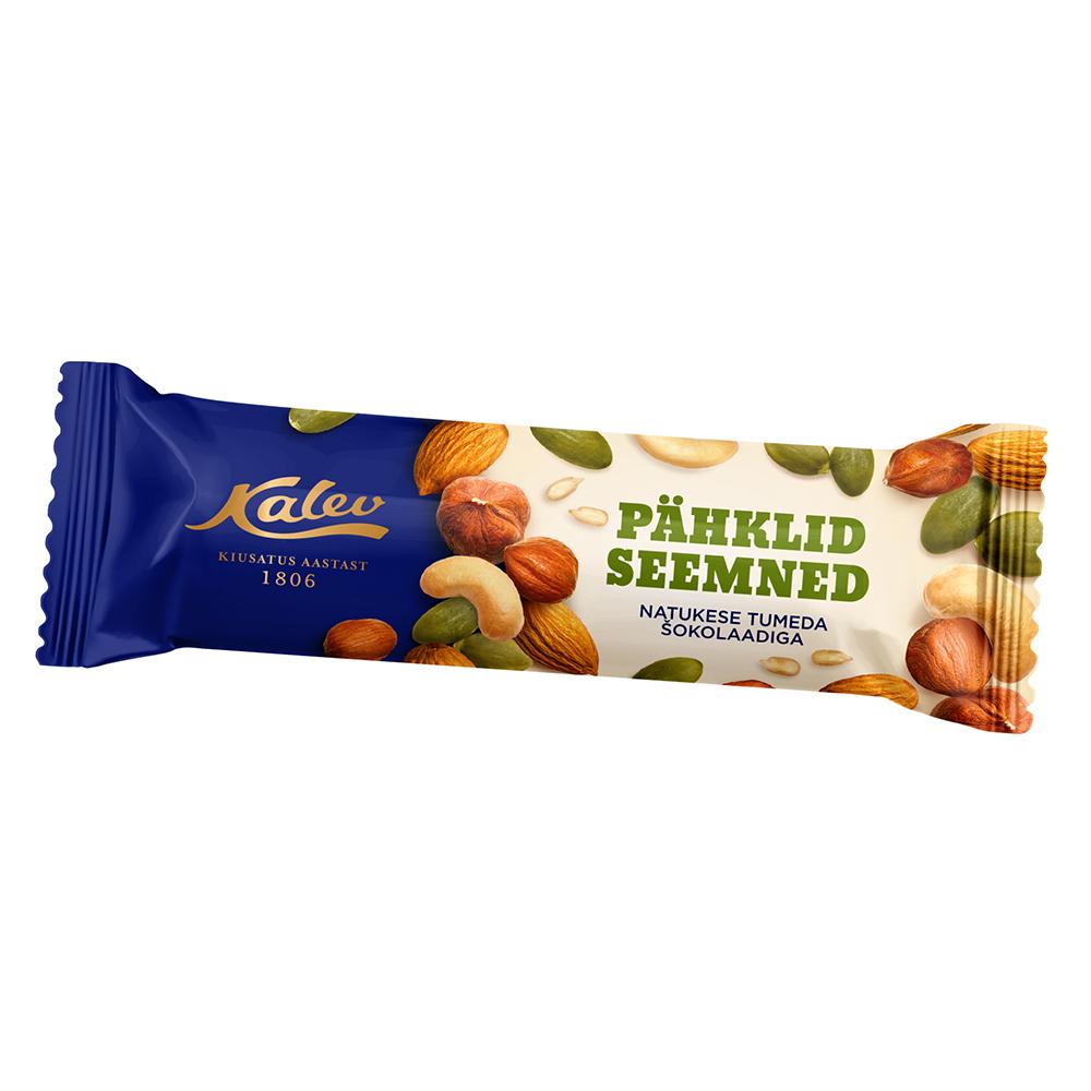 Batoon. Kalev pähkli-seemnebatoon tumeda šokolaadiga.