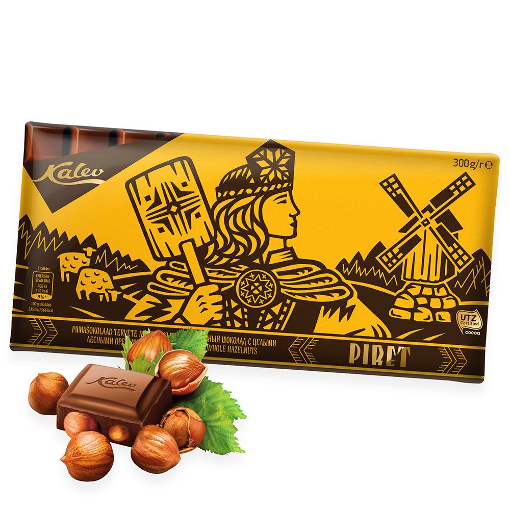 Kalev šokolaad. Piret piimašokolaad tervete metspähklitega