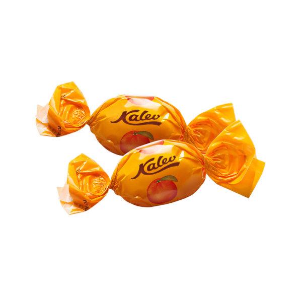 Kalevi kommid. Kalev Caramel apelsinimaitseline täidisega karamell kaalu