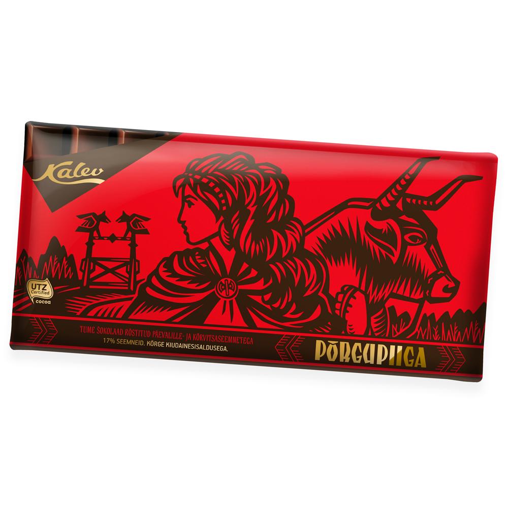 Põrgupiiga tume šokolaad röstitud päevalille- ja kõrvitsaseemnetega. Kalev
