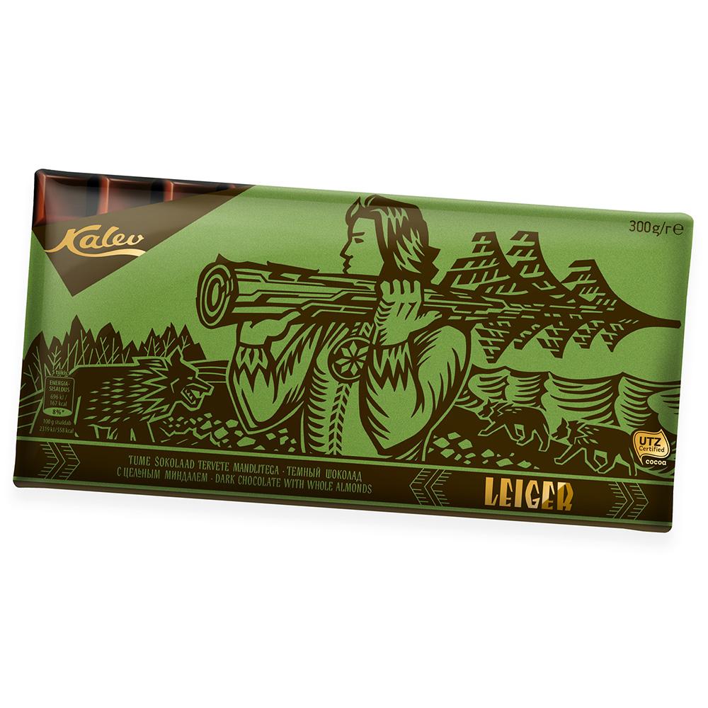 Leiger tume šokolaad tervete mandlitega. Kalev
